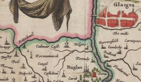 Joan Blaeu. Clydesdale, Atlas of Scotland.1654