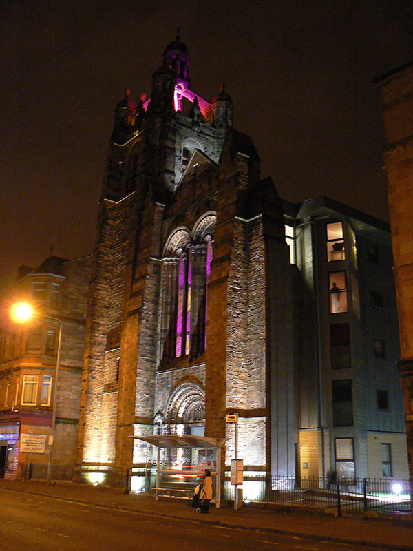 Strathbungo Parish Church, converted to flats, at night
