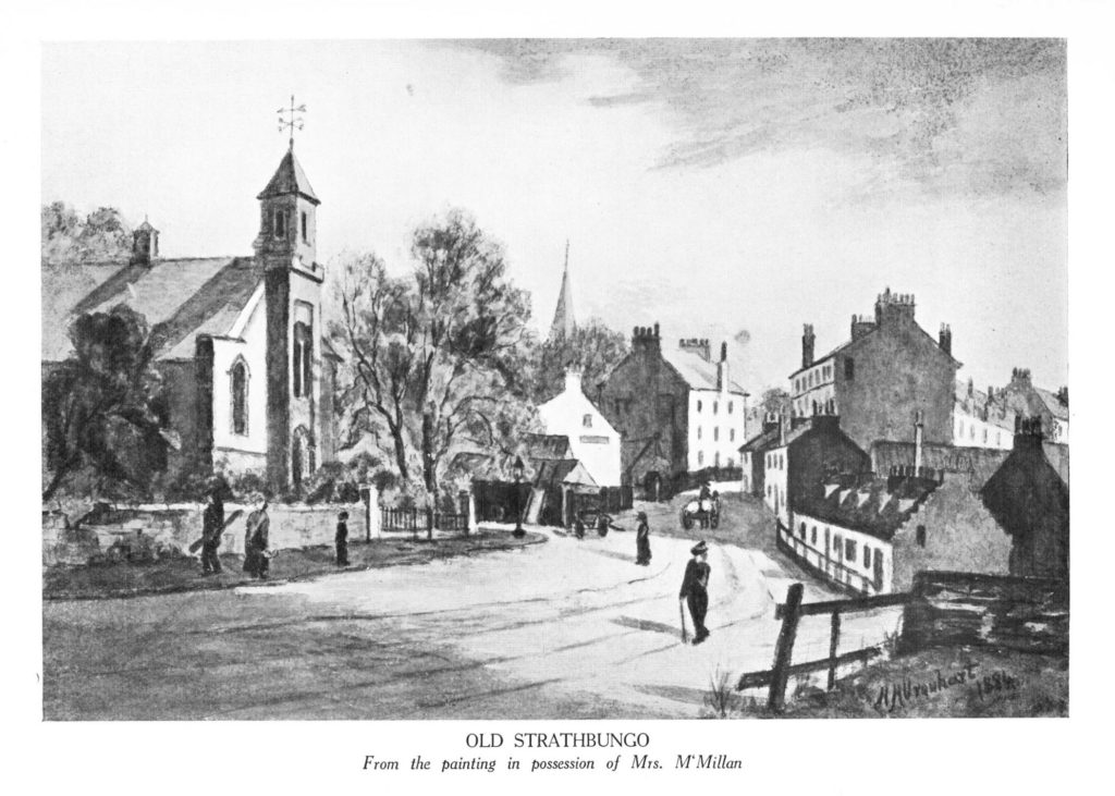 Old Strathbungo, c 1884, showing the old church on the left, in its final years.
