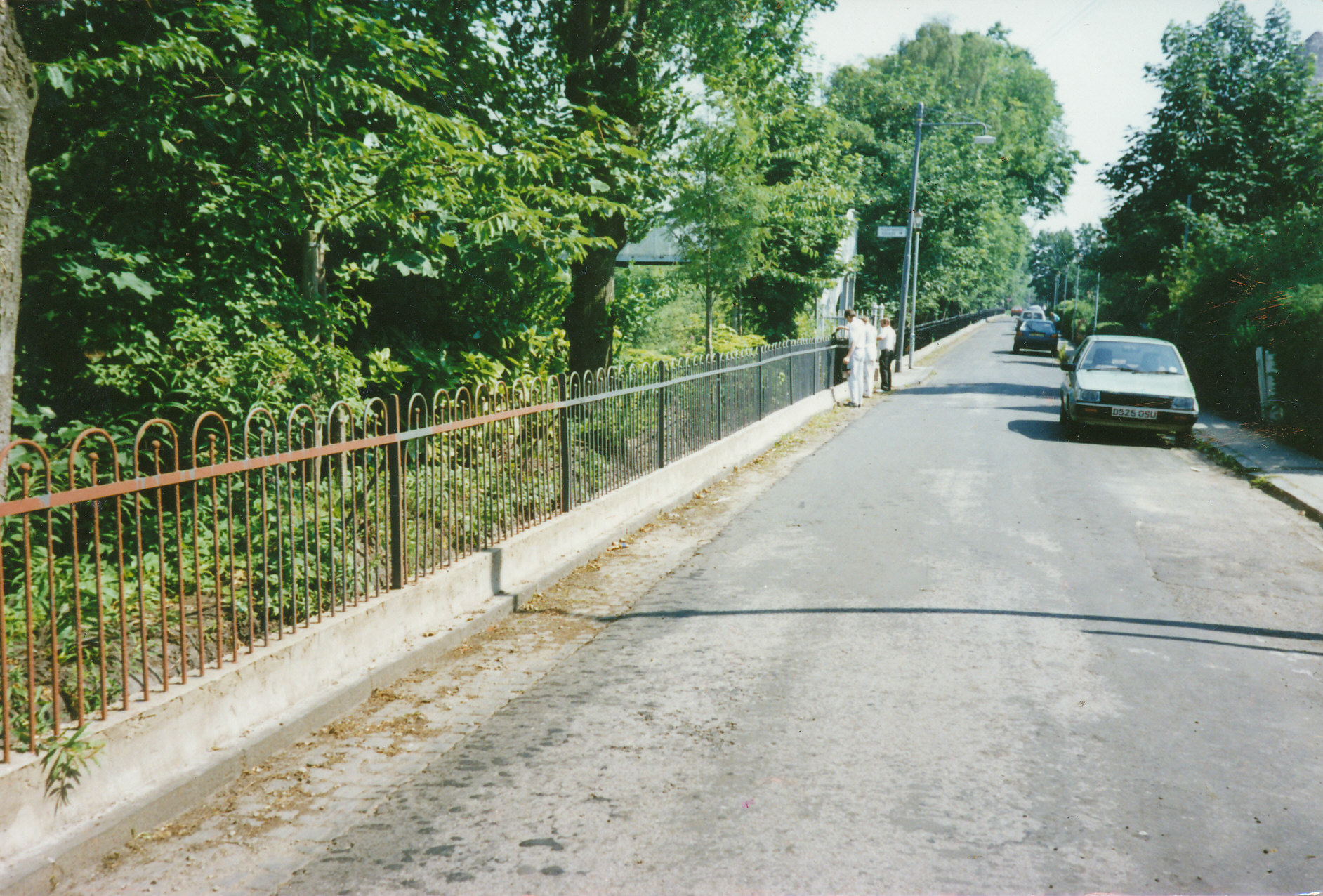 Railings after fence and concrete repair and painting, circa 1990