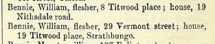 William Bennie, 1877 PO Directory
