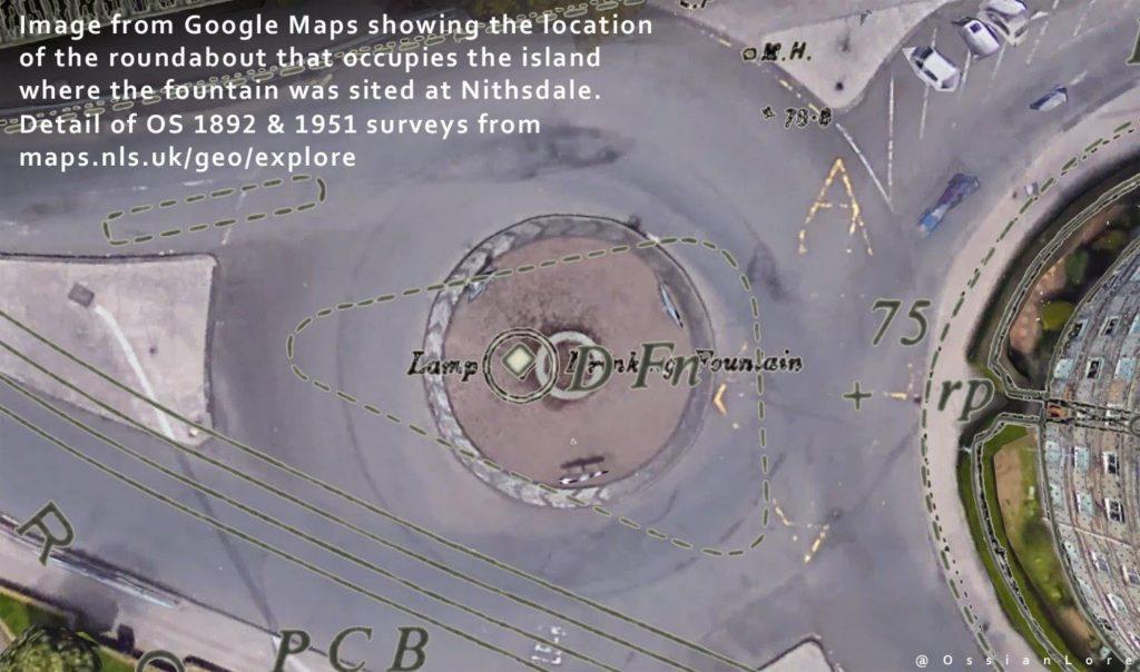 Maps of fountain overlaid