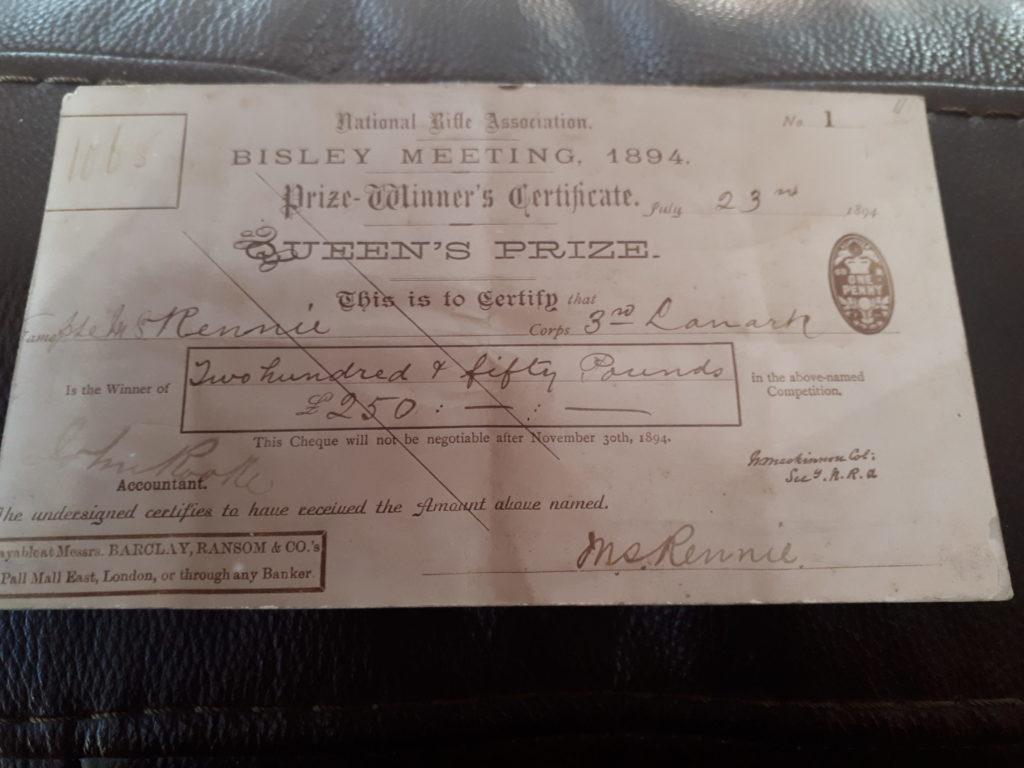 Malcolm Rennie's Queen's Prize Certificate 1894