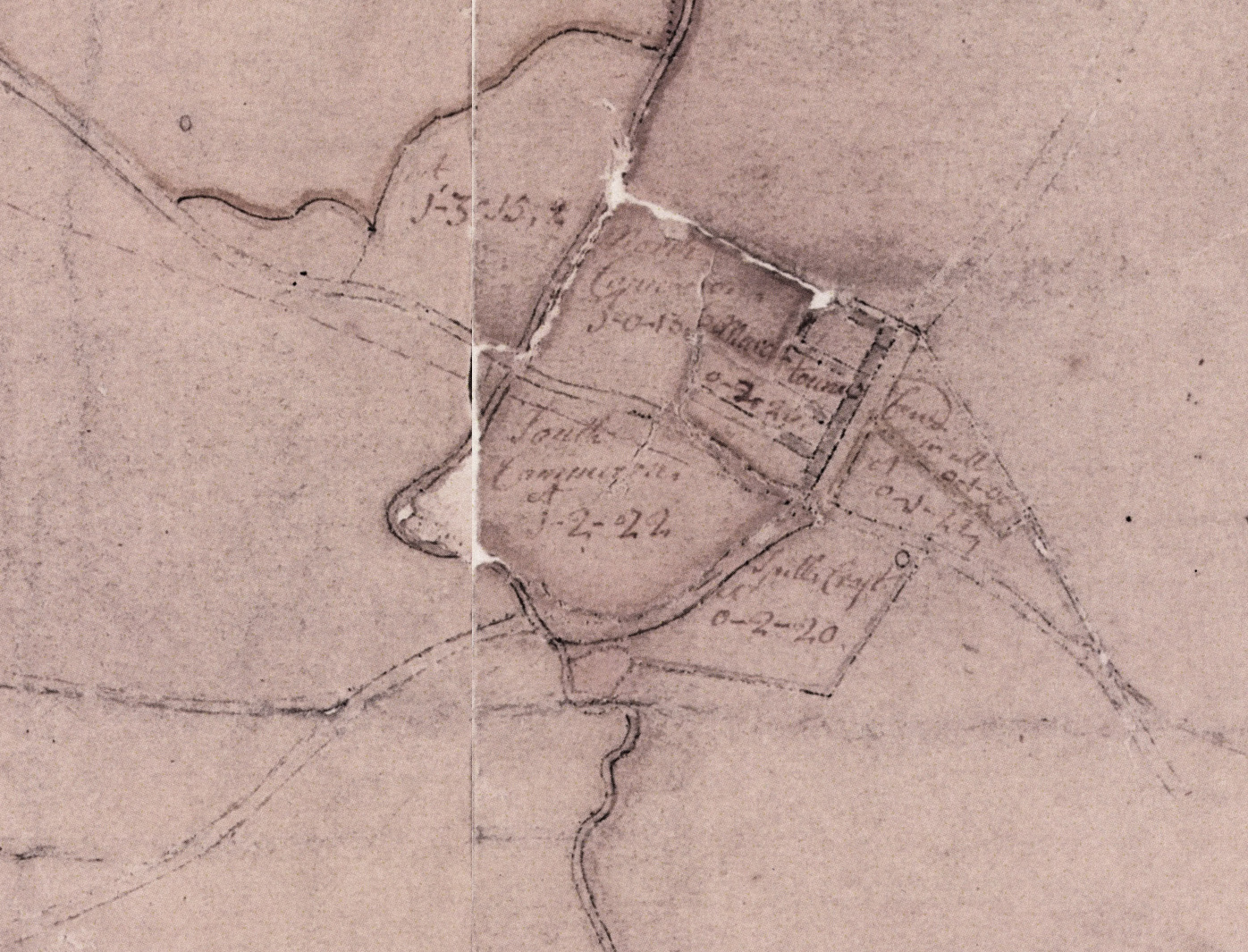 Map of Pollok Estate excerpt. Robert Ogilvy. 1741