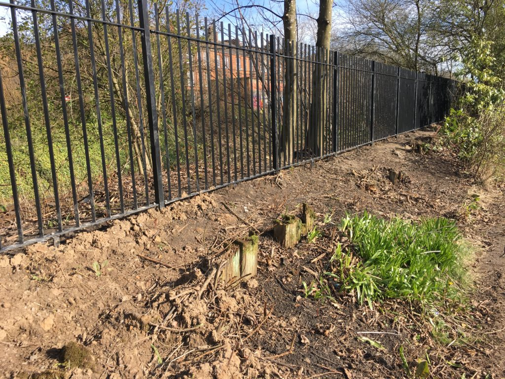 The new railway fence, March 2017