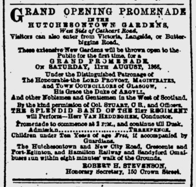Hutchesontown Gardens Advert, Glasgow Herald 1866