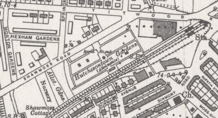 Hutchesontown Gardens Crossmyloof OS Map 1940