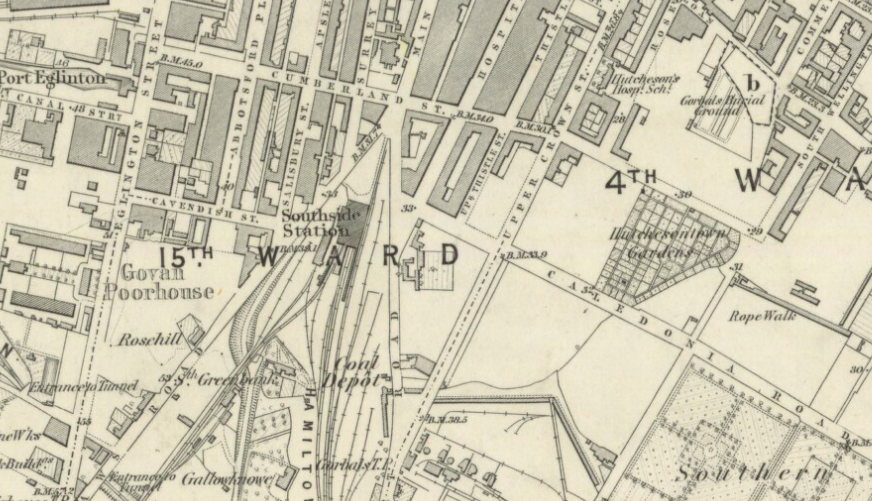 Hutchesontown Gardens, Gorbals, OS Map 1865
