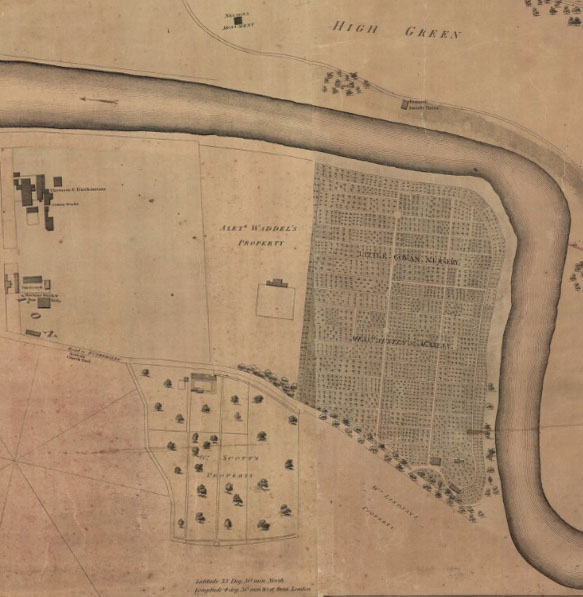 Peter Fleming 1807 Glasgow Map showing Austin & McAslan Little Govan Nursery, opposite Glasgow Green