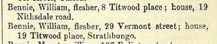 William Bennie, 1877 PO Directory