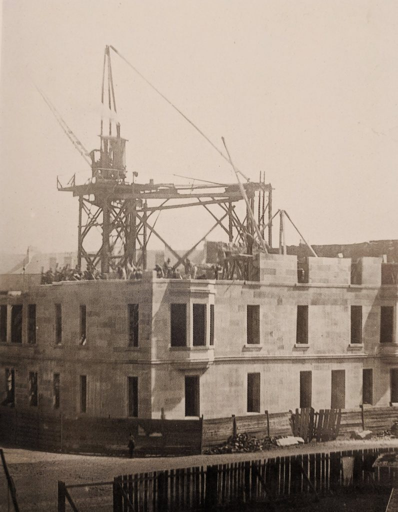 Hutchesontown Gardens tenement under construction in 1896