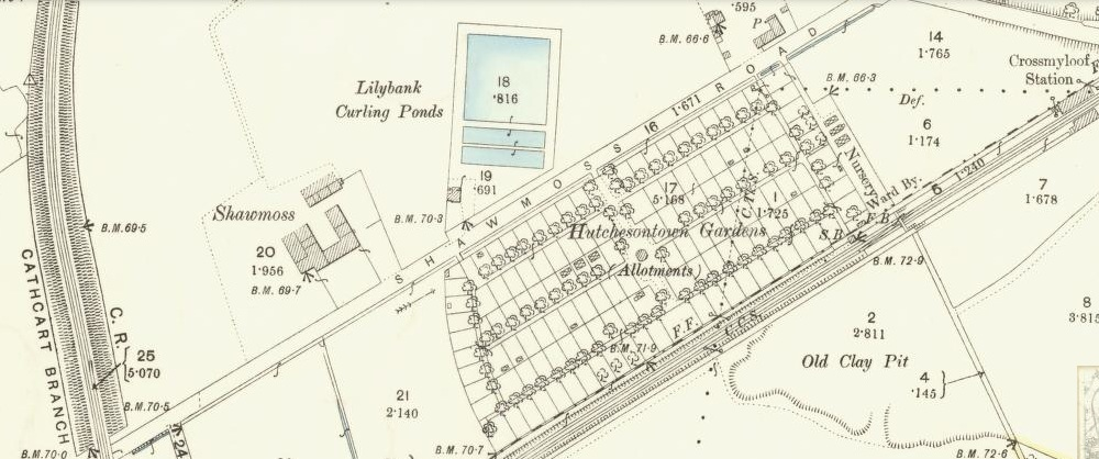 Huchesontown Gardens at Crossmyloof, OS Map 1892