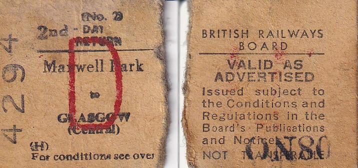 Old rail ticket